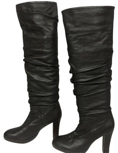 Charles David Vintage Over The Knee Italy Soft Leather Scrunch black Boots