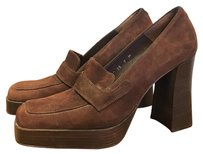 Charles David Vintage Suede Pumps Chunky Brown Platforms