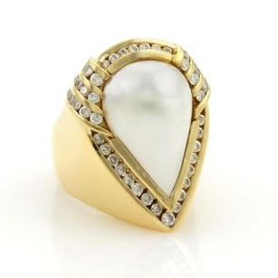 Charles Krypell Charles Krypell 2ct Diamonds Mabe Pearl 18k Gold Cocktail Ring