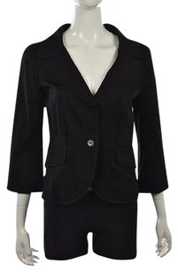 Charles Nolan Charles Nolan Womens Black Blazer Casual Cotton 34 Sleeve Jacket