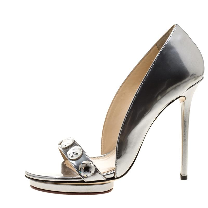 Charlotte Olympia Metallic Silver Leather Christine Crystal Embellished Open S Pumps Size EU 40 (Approx. US 10) Regular (M, B)