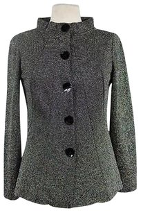 Charlotte Russe Charlott Womens Black Metallic Basic Long Sleeve Coat Multi-Color Jacket