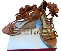 Charming Charlie Summer Heels Flower Tan and Carmel Wedges
