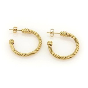 Charriol Charriol Twisted Wire Design 18k Yellow Gold Hoop Earrings