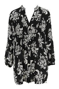 Charter Club Floral Womens Polyester Top black