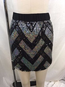 Chaser Black Elastic Waist Mini Skirt Black/ Silver