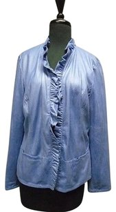 Chico's Snake Embossed Soft Open Front Gathered Edge 1 2881a Purple Jacket