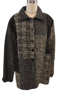 Chico's Design Wool Tweed Button Down Coat Brown/ Black Jacket
