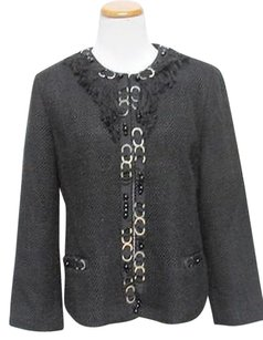 Chico's Chicos Black Long Sleeves Lined Fringe Embellished Blazer Jacket C633