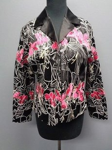 Chico's Chicos Black Pink Floral Embroidered Cotton Blend Lined Jacket Blazer 1 Sma4742