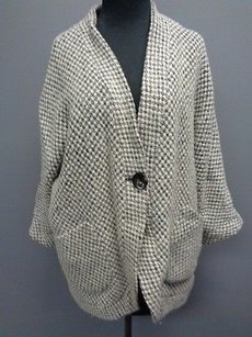 Chico's Chicos Black White Rayon Blend Geo Print Lined One Button Jacket 1 Sma6280