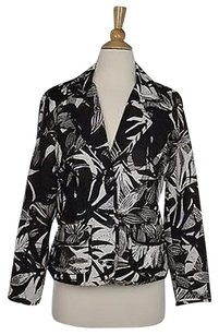 Chico's Chicos Womens Brown White Floral Blazer 0 Long Sleeve 100 Silk Jacket