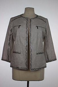 Chico's Chicos Womens Gray Animal Print Blazer 1 34 Sleeve Linen Blend Jacket