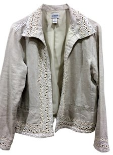Chico's cream with shiny gold thread Blazer