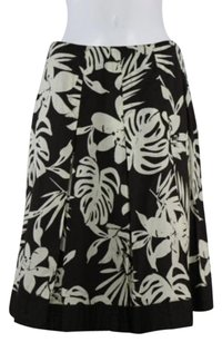 Chico's Womens Creme Floral Tiered 1 Knee Skirt Brown