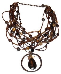 Chico's $20 SALE Mother's DAY RARE Boho Chic Vintage Chunky Tortoise Shell Brown Bib Statement Multi-Strand Necklace