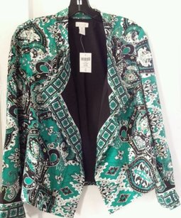 Chico's Chicos Scarf Print Paisley Black & White and Green All Over Jacket