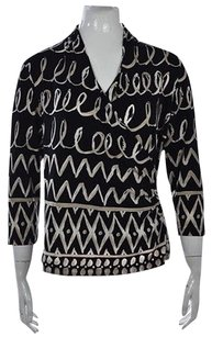 Chico's Chicos Womens Black Printed Top Multi-Color