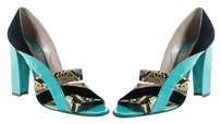Chloé Chloe 40 Snakeskin Heels Multi-Color Turquoise Blue Sandals
