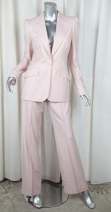 Chlo Chloe Womens Pink Cotton Long-sleeve Single-button Blazer Jacket Pant Suit 408