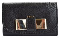Chloé Rdc5079 Chloe Black Leather Key and Card Holder