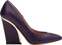 Chloé Chloe Deep Iris Grained Leather Beckie Pointed Eu Purple Pumps