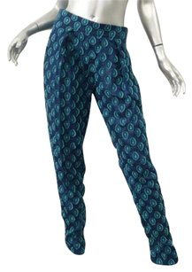 Chloé Chloe Womens Cyan Silk Embroidered Jacquard Medallion 364 Pants