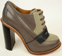 Chloé Chloe Leather Wool Lace Up Oxford Ankle Heels Gray Boots