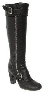 Chloé Chloe Terry Leather Buckle Zip Stacked Heel Round Toe Knee High 939 Black Boots