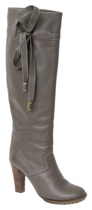Chloé Chloe Renna Ash Leather Tie Strap Round Toe Heel Knee High Gray Boots