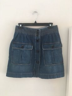 Chlo Chloe Denim Button Down Mini Skirt Blue