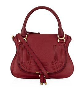 Chlo Red Chloe Leather Satchel in Crimson Red