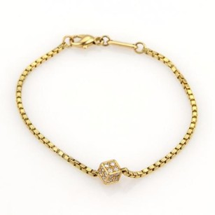 Chopard Chopard Diamonds Cube Charm 18k Yellow Gold Box Chain Bracelet