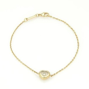 Chopard Chopard Happy Diamonds 18k Ygold Floating Diamond Heart Charm Bracelet Wcert.