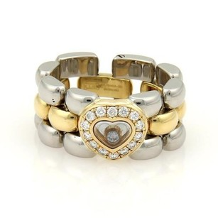 Chopard Chopard Happy Diamonds 18k Ygold Steel Diamond Heart Panther Link Ring Size-6