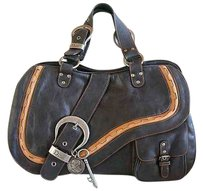 Dior Leather Metallic Hardware Satchel in Black with brown details