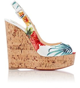 Christian Louboutin Multi Une Plume Slingback Wedge Sandals White / Multi-Color Platforms
