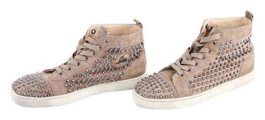 Christian Louboutin Beige * Suede Spiked High-top Sneakers Size US 9.5