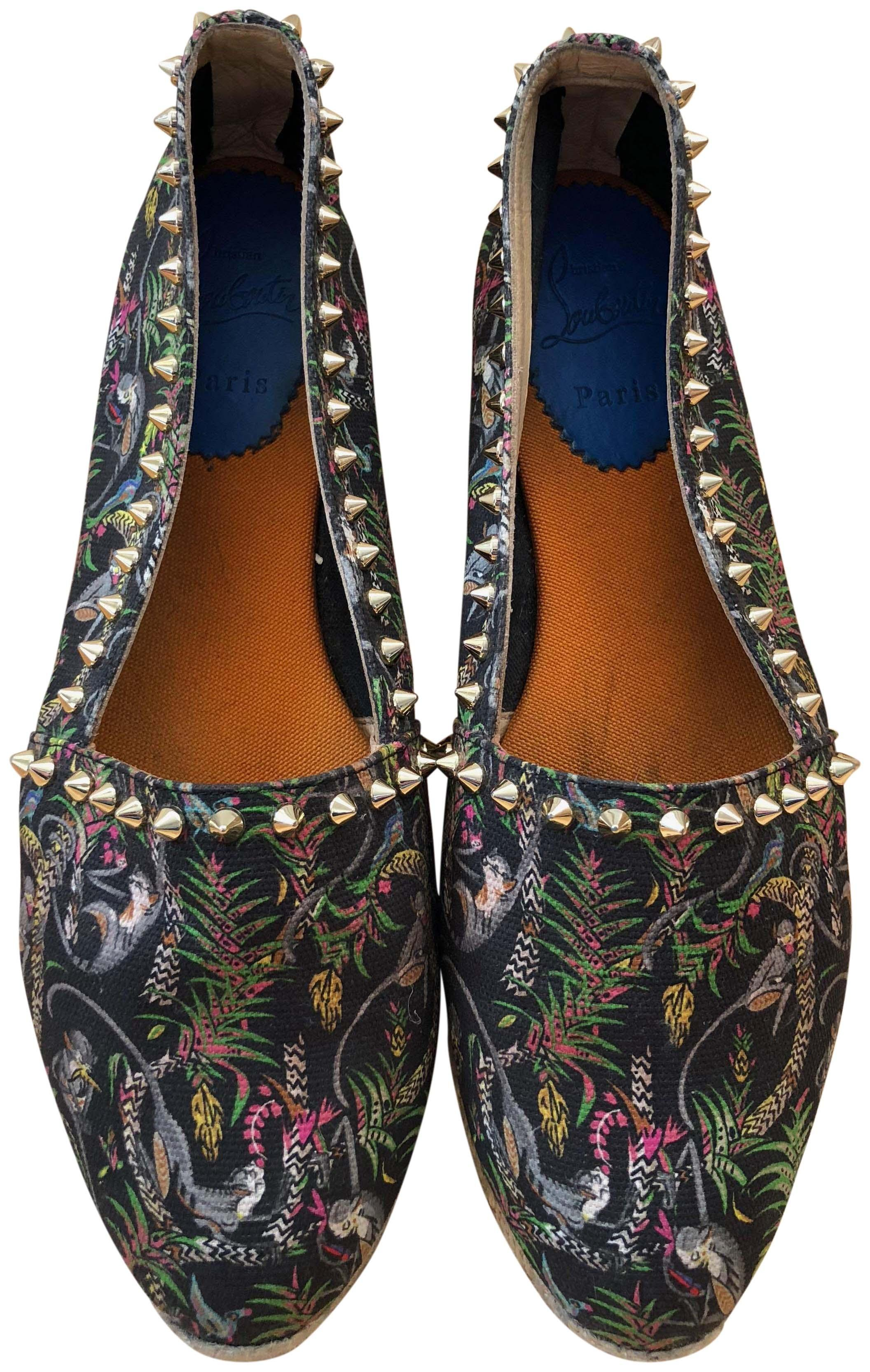 681074fedabe ... ireland christian louboutin black gold jungle print flats 38197 a8410  ebay christian louboutin ares ...