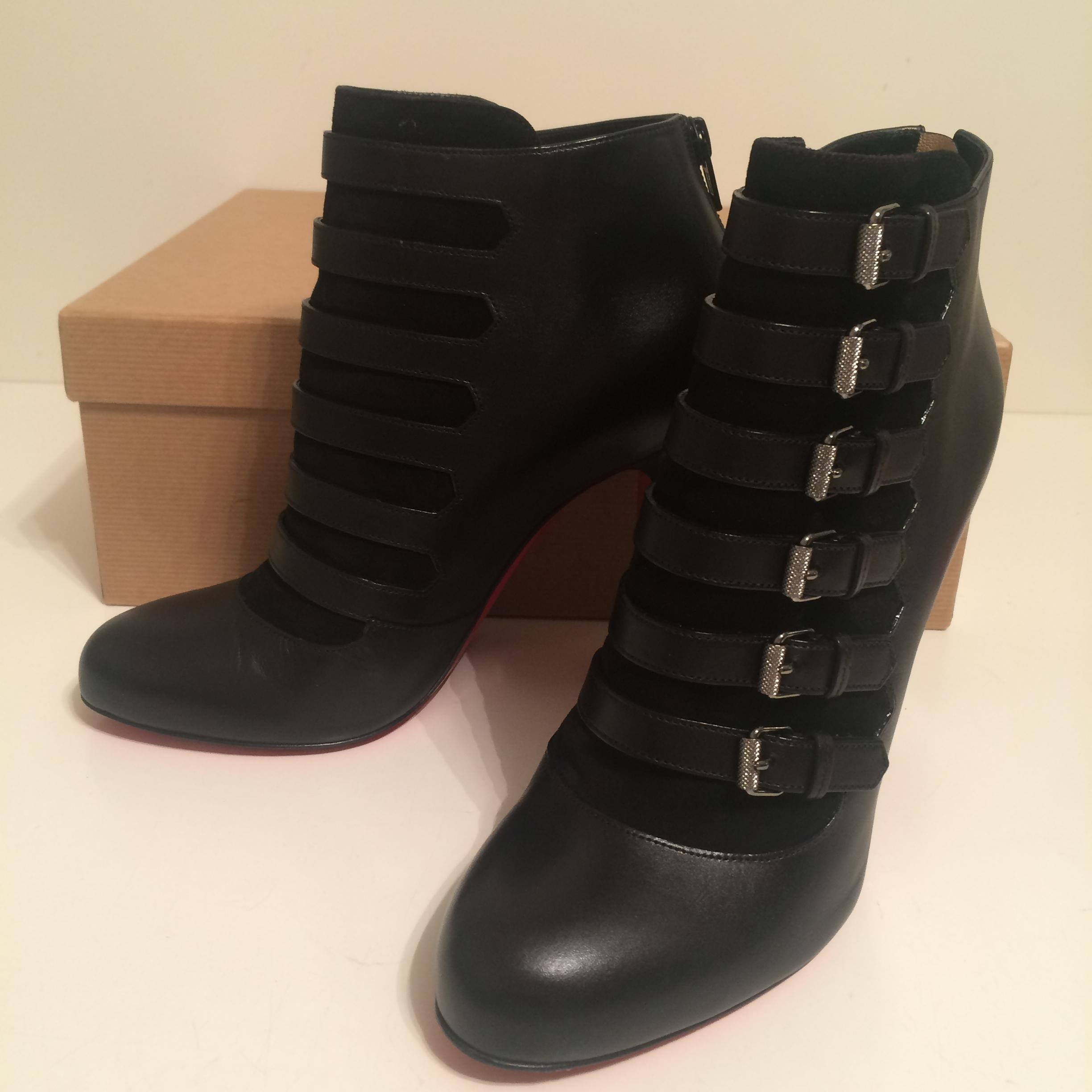 d4d226437720 ... Christian Louboutin Black Attroupee 100 Calfskin Leather Ankle Ankle  Ankle Booties Eu 39 Pumps Size US ...