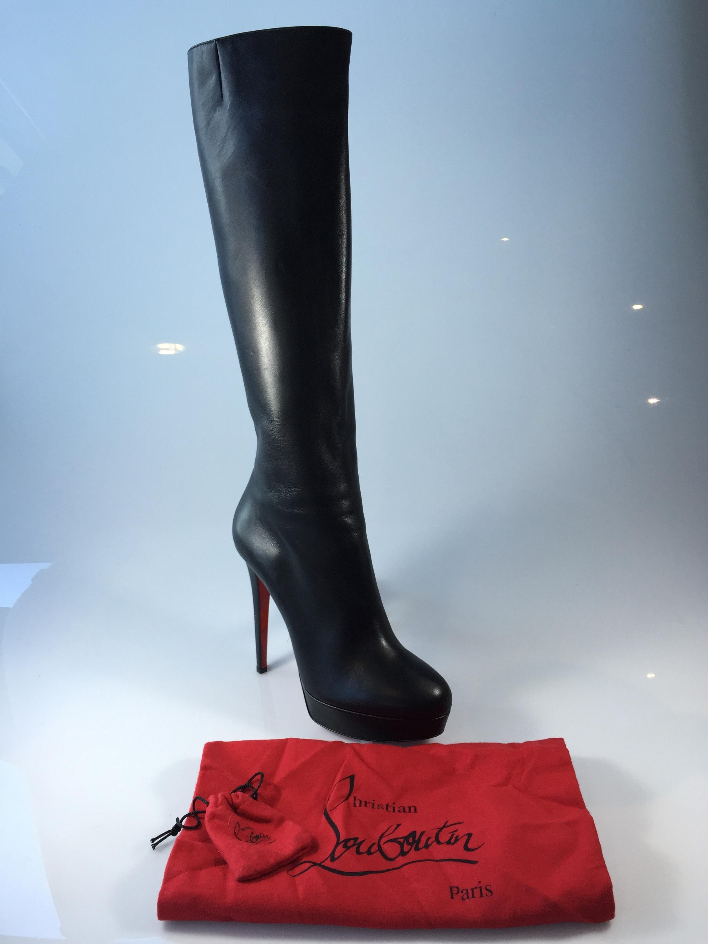 3fd899ccc417 ... Christian Louboutin Black Bianca 140 Leather Knee High Boots Booties Size  Size Size US 12