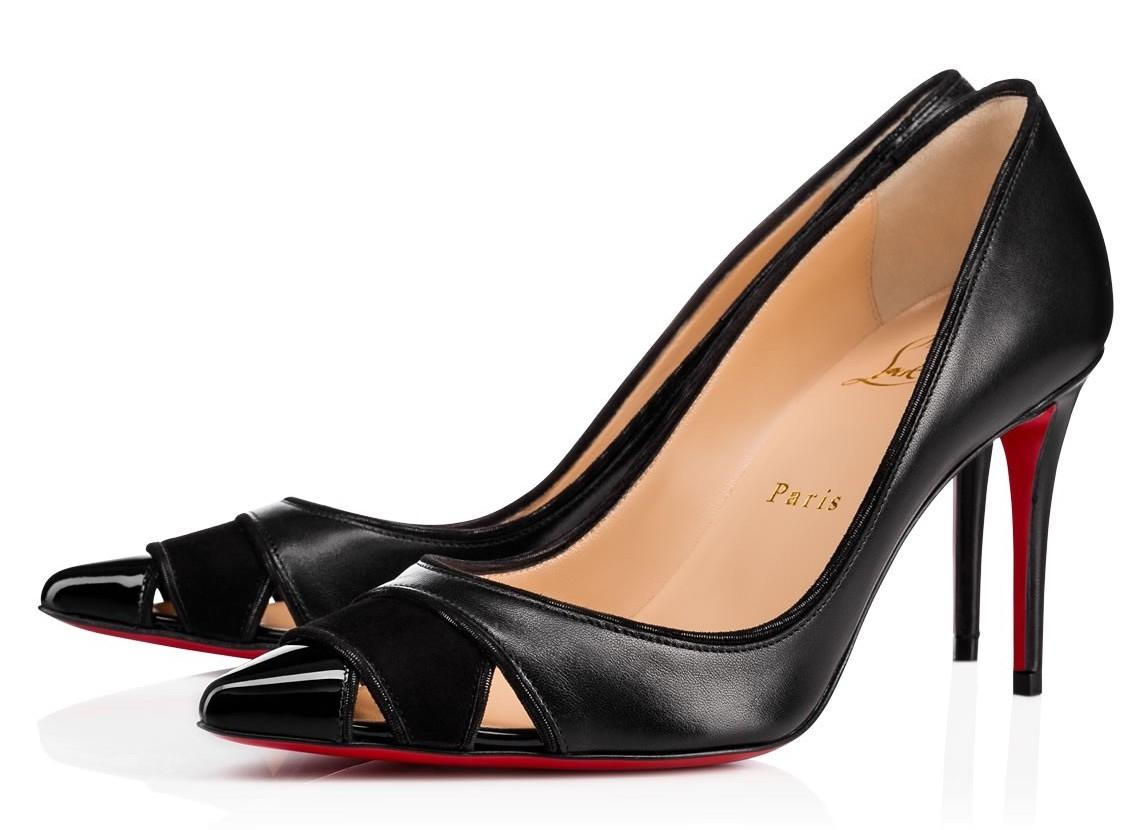 Christian Louboutin Black Biblio 85mm Leather Cut Out Pointed Heels A964 Pumps Size EU 37 (Approx. US 7) Regular (M, B)