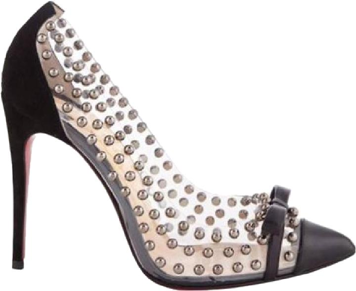 Christian Louboutin Black Bille Et Boule Studded Clear Plexi Pvc Leather Bow Heels Pumps Size US 9