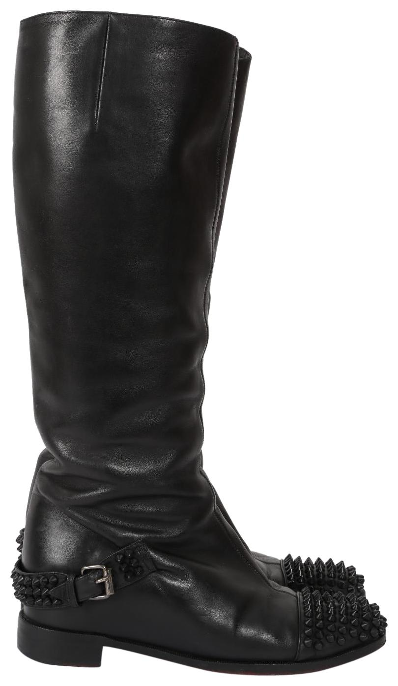 Christian Louboutin Black Egoutina Leather Spiked Boots/Booties Size US 8 Regular (M, B)
