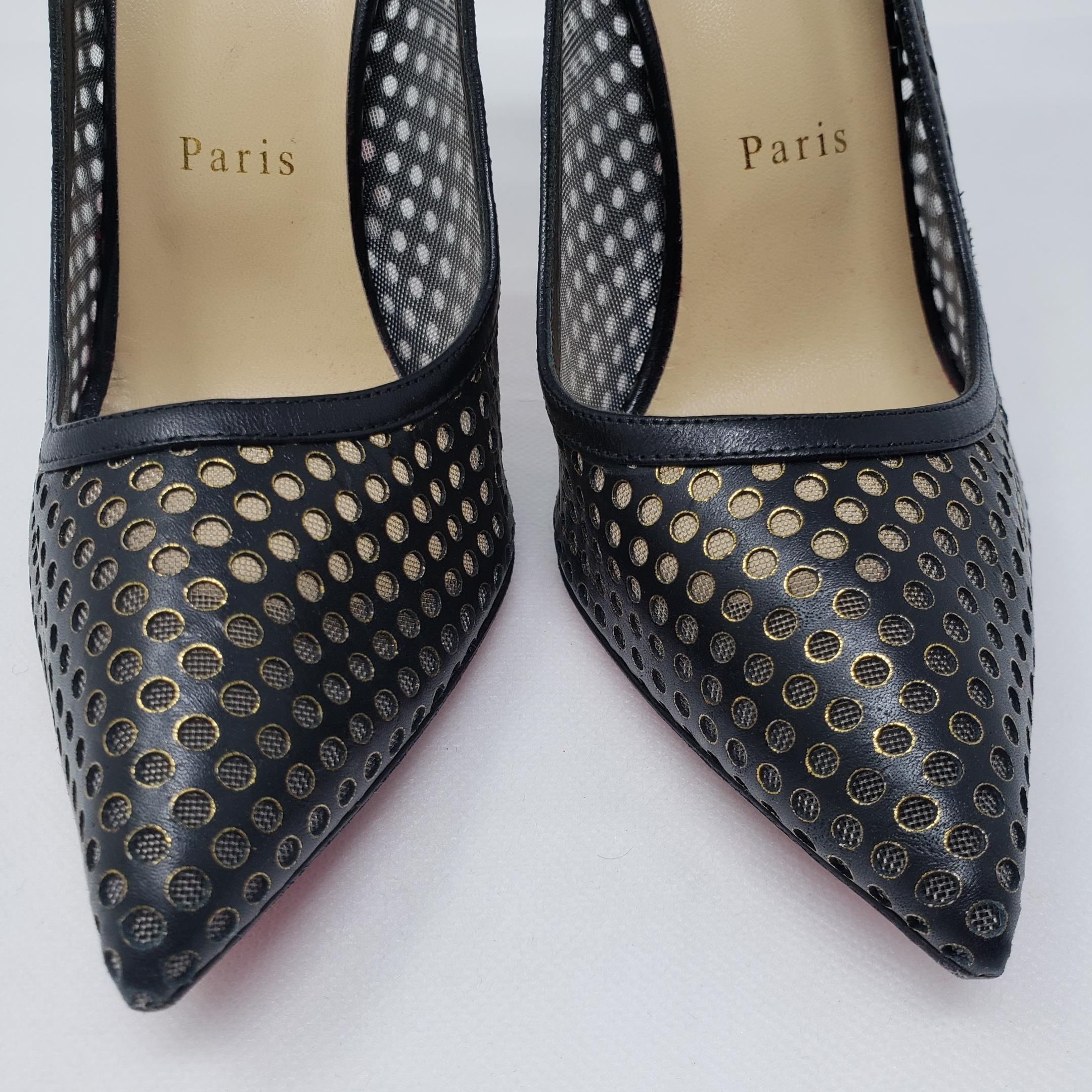 best website 54bed ae941 Christian Louboutin Black Gold Leather Guni Spike Pumps Size ...