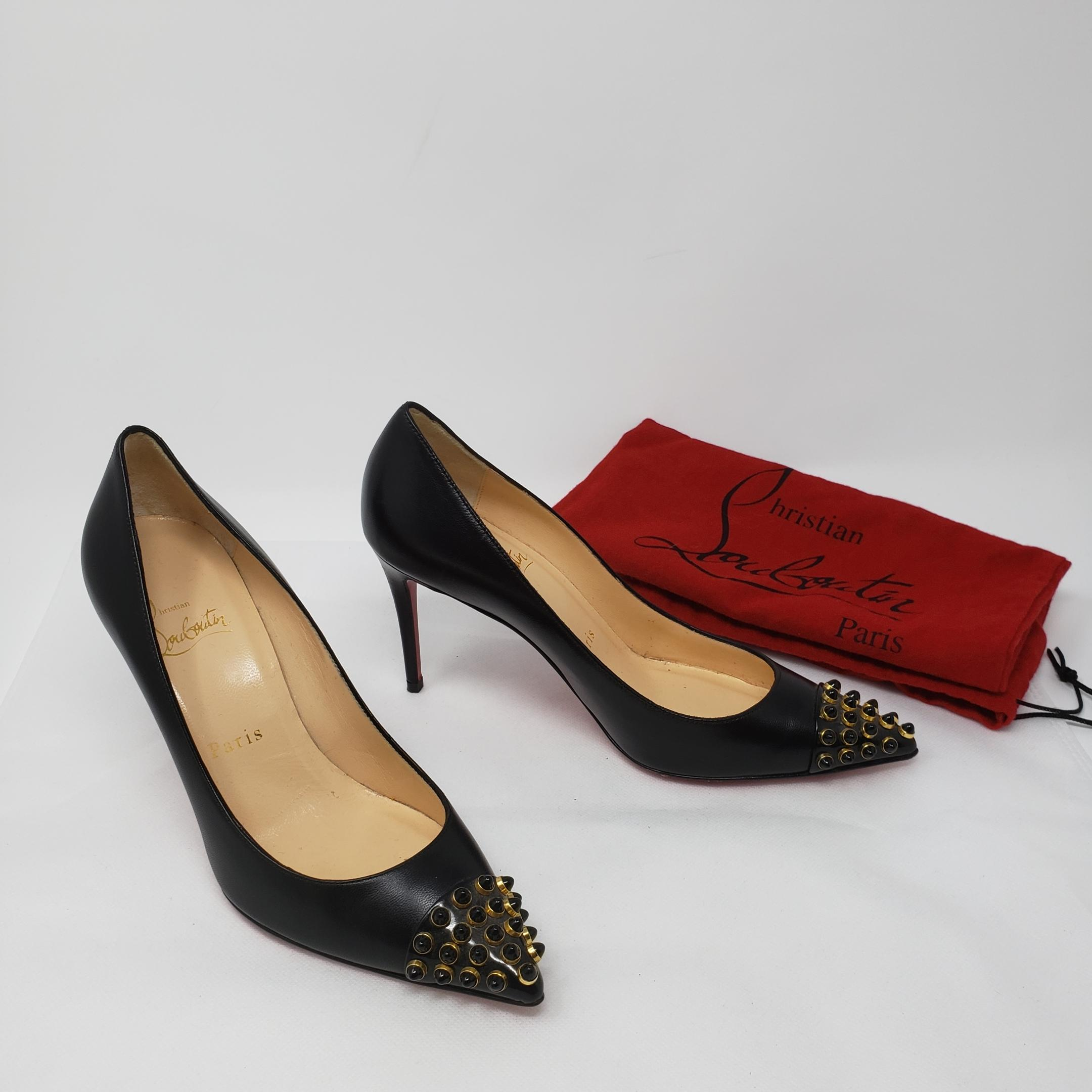 7c3dc8bf31d4 ... Christian Louboutin Black Gold Leather Pointed-toe Pumps Size EU EU EU  35 (Approx ...