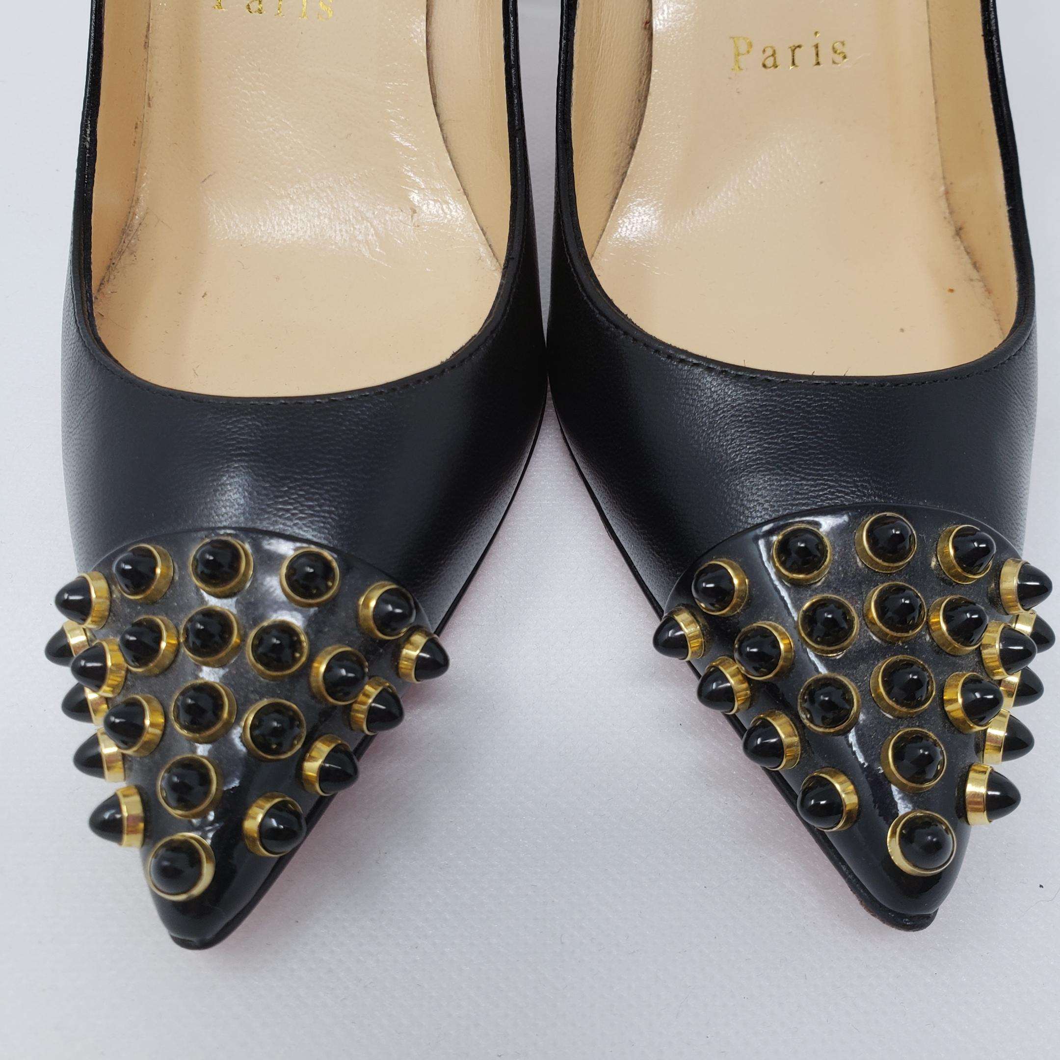521fb31f6a00 ... Christian Louboutin Black Gold Leather Pointed-toe Pumps Size EU EU EU  35 (Approx ...