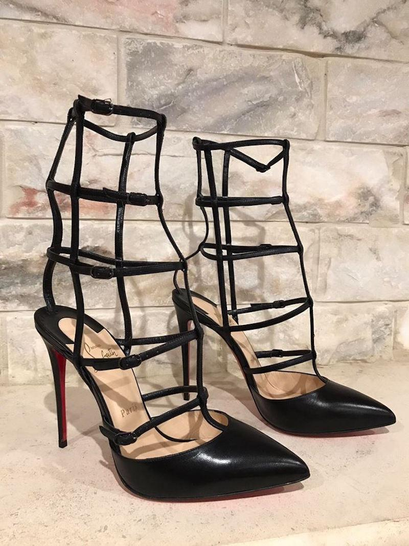 8a78934070e6 ... Man Woman——Christian Louboutin Louboutin Louboutin Black Kadreyana 100  Leather Caged Strappy Heel ...
