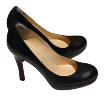 Christian Louboutin Black Leather 3 Inch Heals with Small Front Platform. 1/2 Pumps Size US 6.5 Regular (M, B)