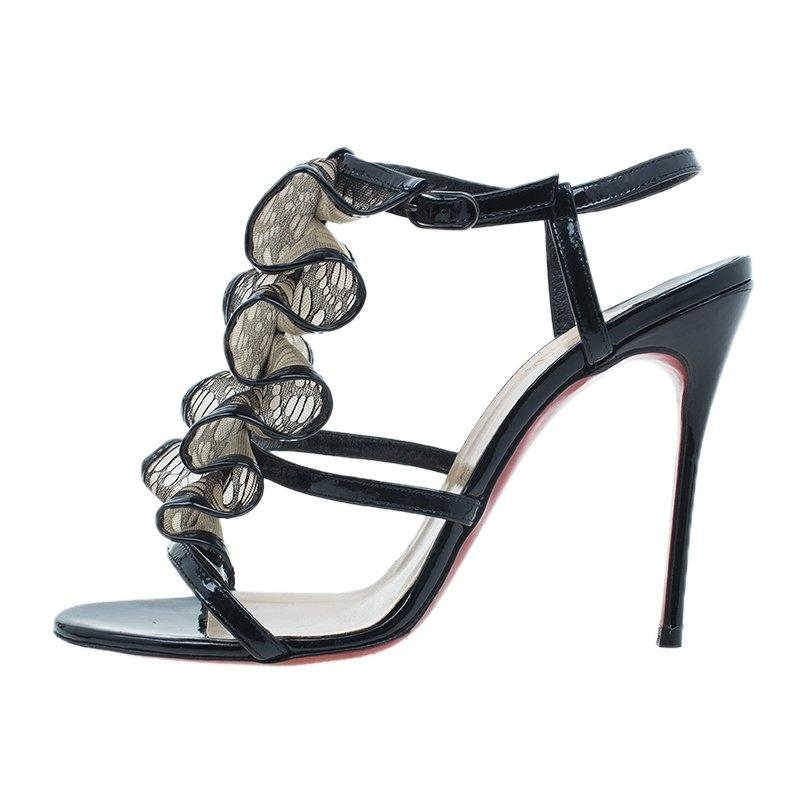 Christian Louboutin Black Leather and Mesh Fortitia Sandals Size EU 37 (Approx. US 7) Wide (C, D)